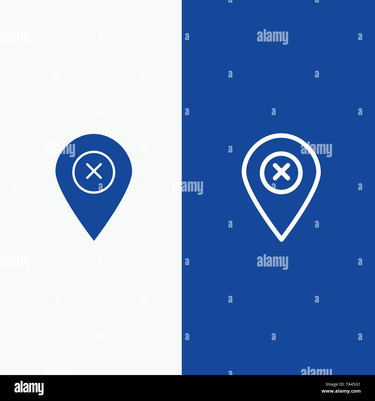 Location, Map, Navigation, Pin Line and Glyph Solid icon Blue banner Line and Glyph Solid icon Blue banner - Stock Image