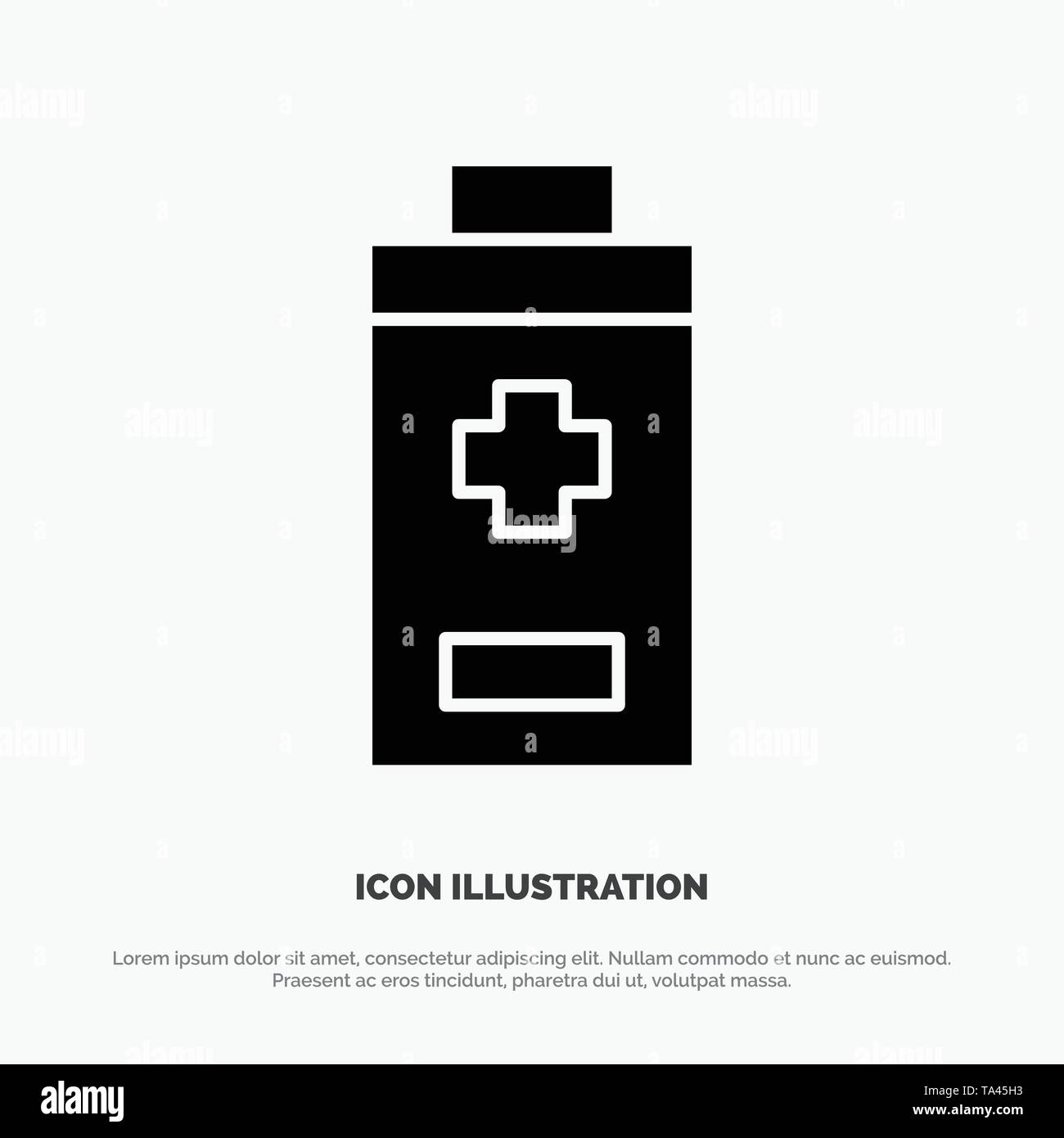 Battery, Minus, Plus solid Glyph Icon vector - Stock Image