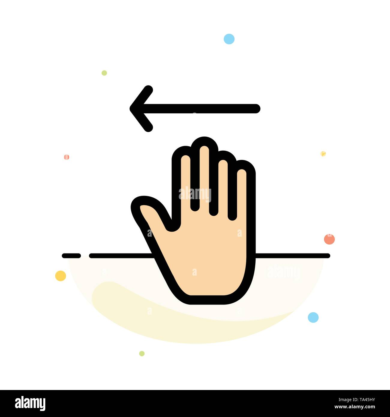 Hand, Arrow, Gestures, Left Abstract Flat Color Icon Template - Stock Image