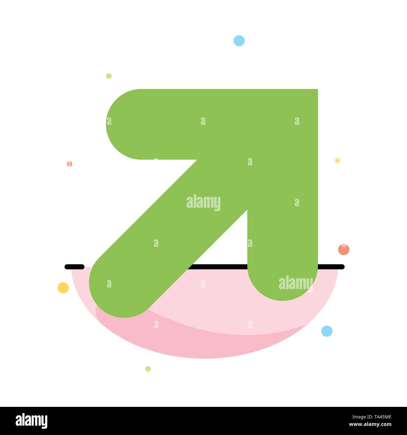 Arrow, Up, Right Abstract Flat Color Icon Template - Stock Image