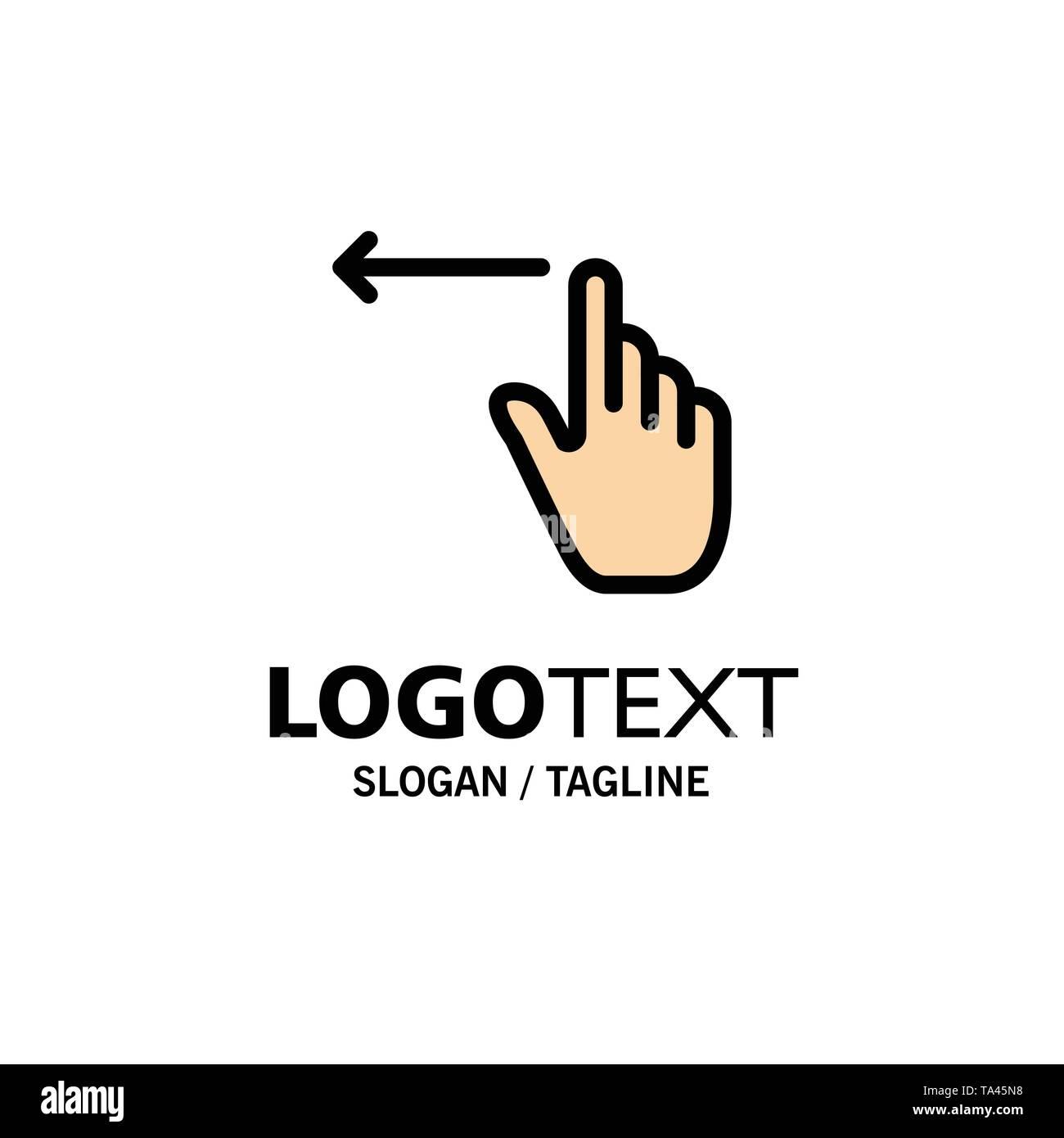 Finger, Gestures, Hand, Left Business Logo Template. Flat Color - Stock Image