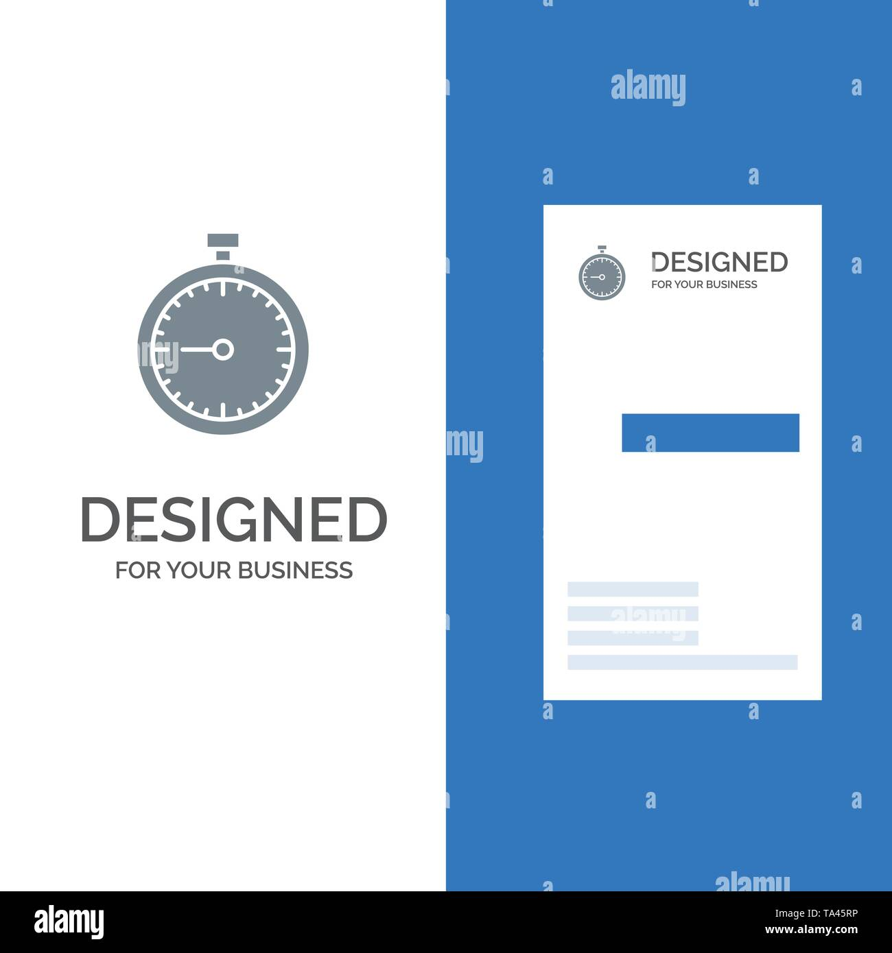 Stopwatch, Clock, Fast, Quick, Time, Timer, Watch Grey Logo Design and Business Card Template - Stock Image