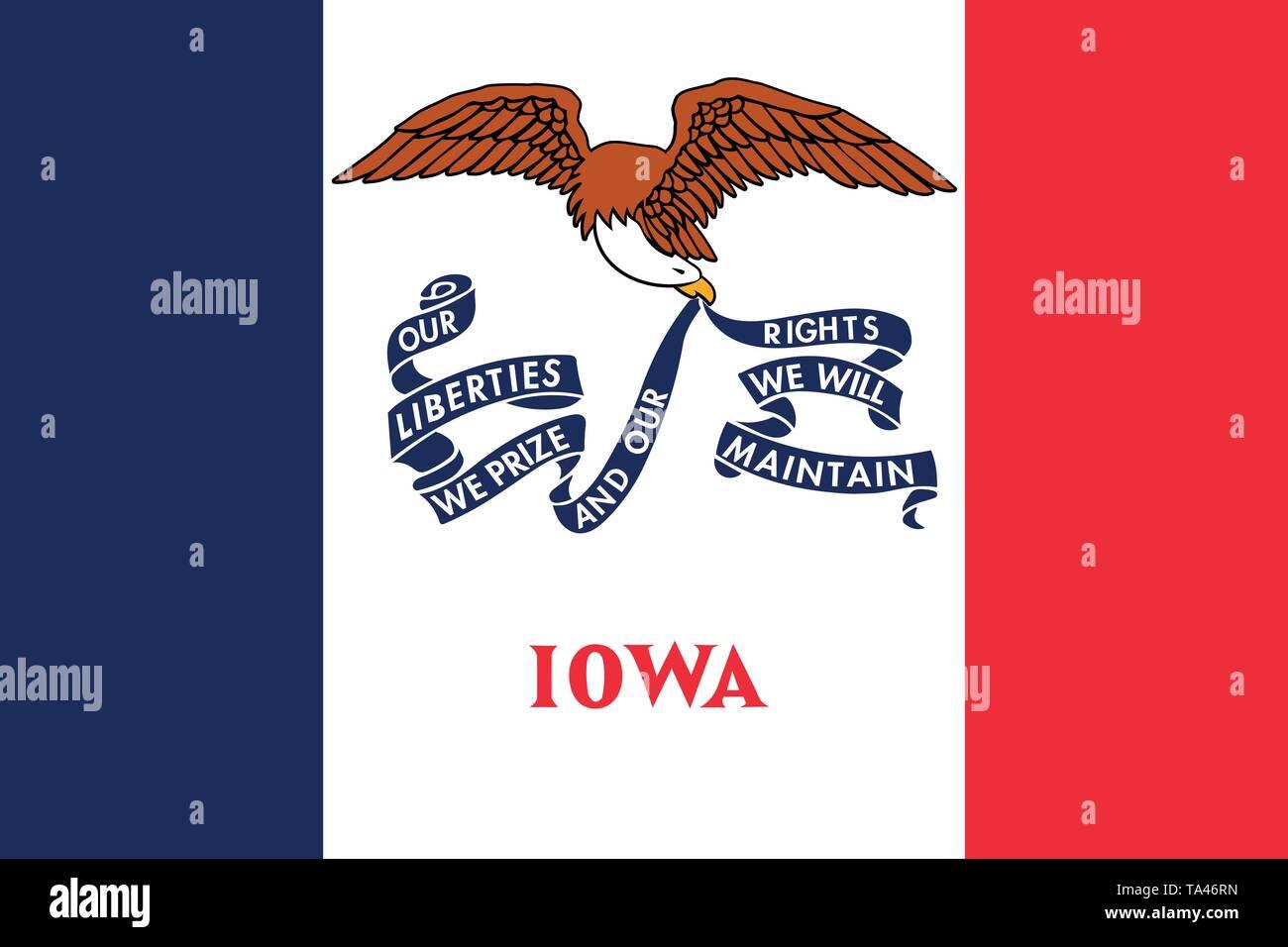 Iowa flag. Vector illustration. United States of America. - Stock Image