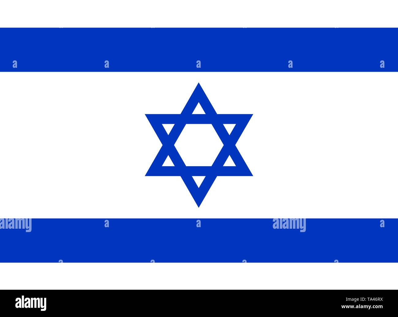 The national flag of Israel. Vector illustration, Flag of Zion, hexagram, Blue star of David on white background. - Stock Vector