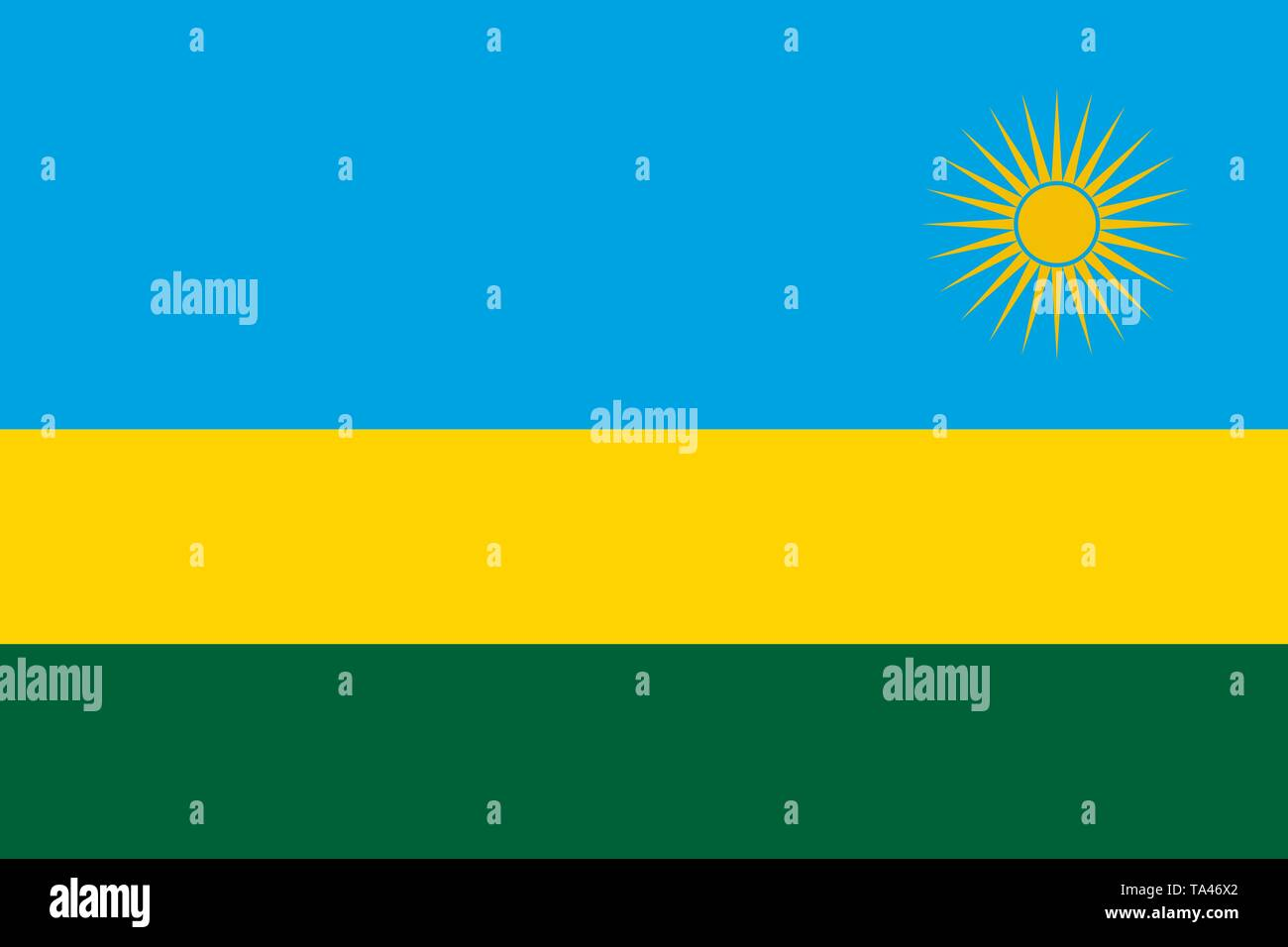 The national flag of Rwanda. Vector illustration. Kigali - Stock Vector
