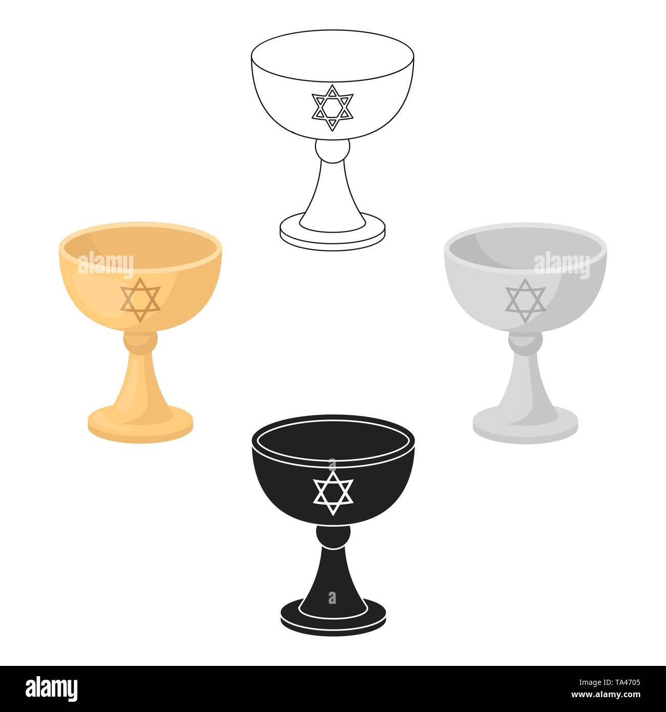 Wine cup icon in cartoon,black style isolated on white background. Religion symbol vector illustration. - Stock Vector