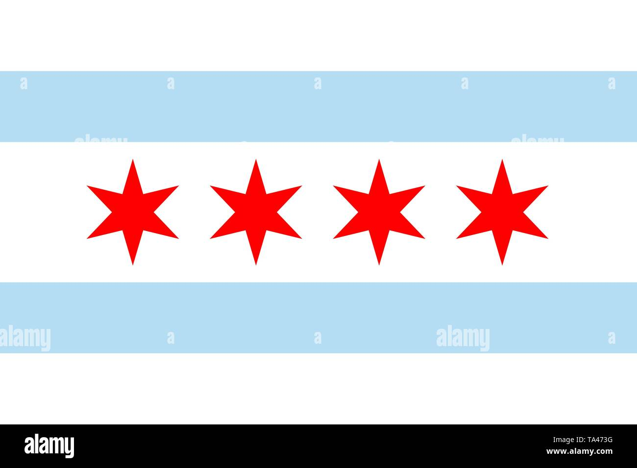 Chicago vector flag. Illinois state. United States of America. Windy City, Chi-Town, City of Big Shoulders, Second City, My Kind of Town - Stock Vector