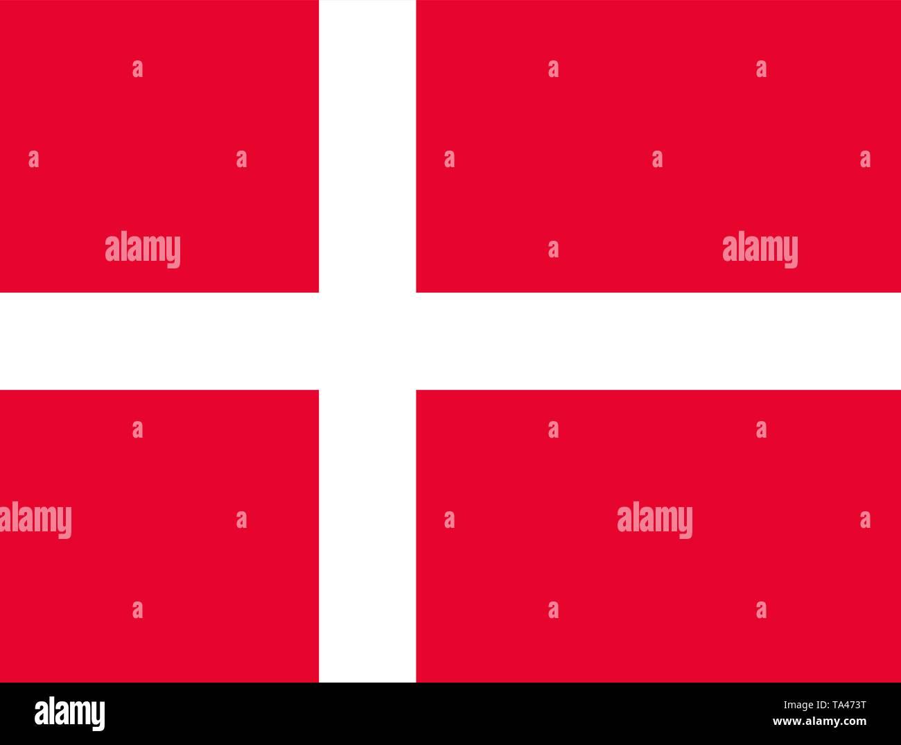 The flag of Denmark. Banner with a white on red cross. Copenhagen. Scandinavia - Stock Vector