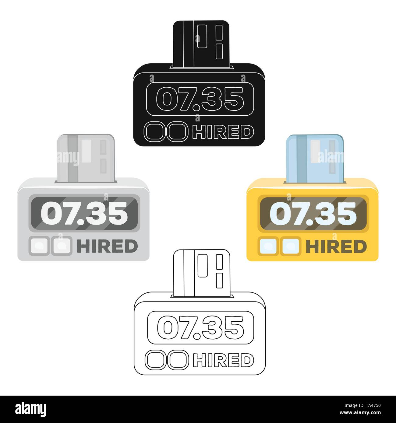 Yellow taxi counter with bank card.A device for measuring and calculating the cost of travel in a taxi. Taxi station single icon in cartoon,black styl - Stock Image