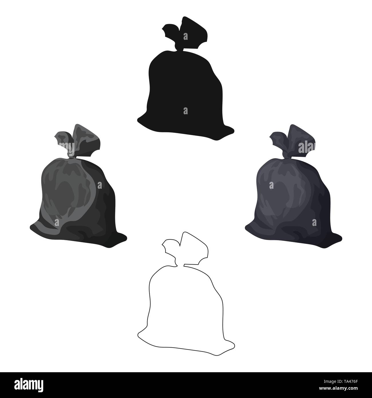 Garbage bag icon in cartoon,black style isolated on white background. Trash and garbage symbol vector illustration. - Stock Image