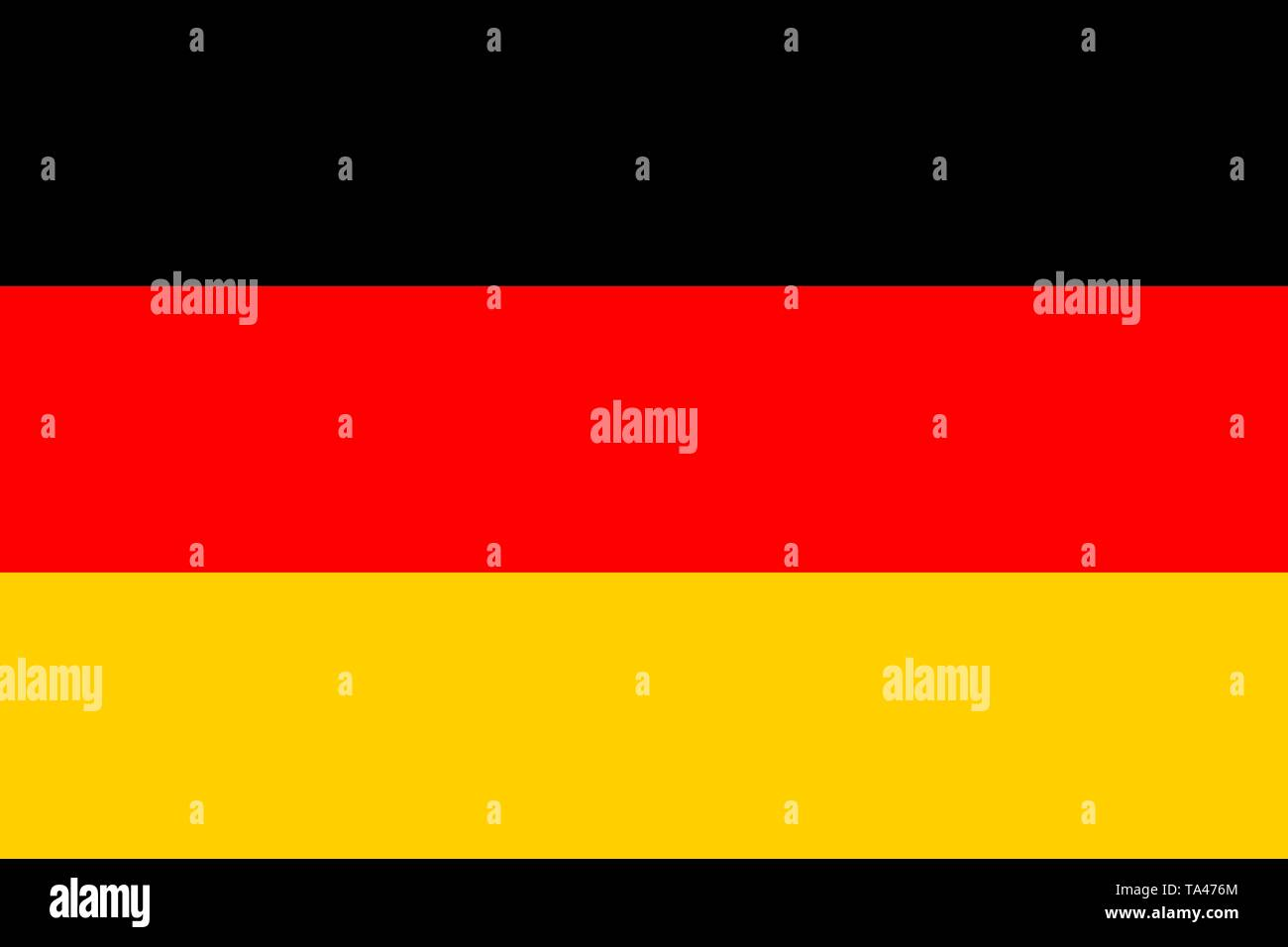 The flag of German. Flagge Deutschlands. Vector illustration. German tricolour. Berlin, Munich, Hamburg, Bonn, Dusseldorf - Stock Vector