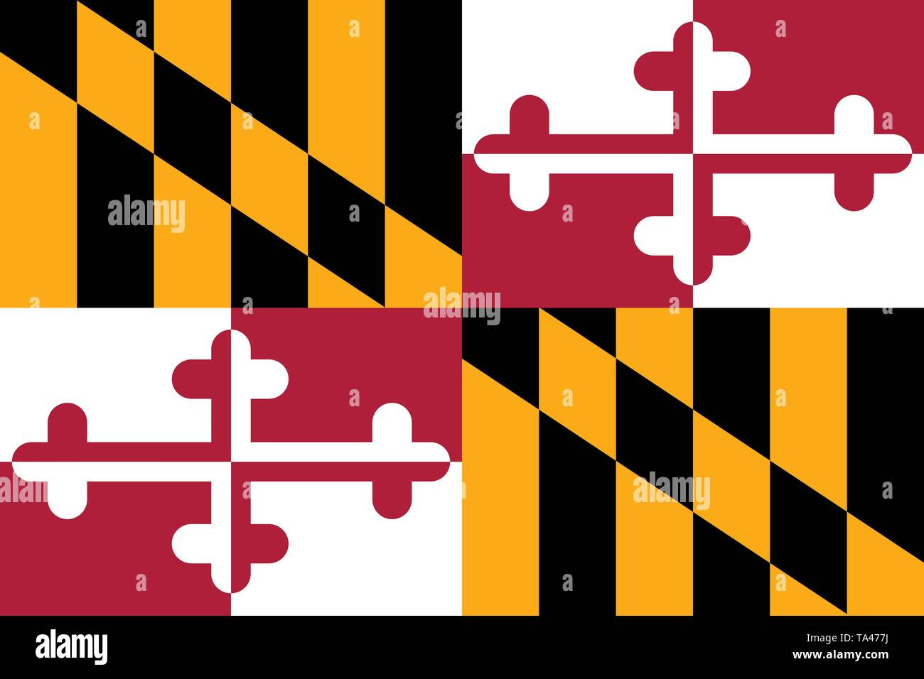 Maryland flag. Vector illustration. United States of America. - Stock Vector