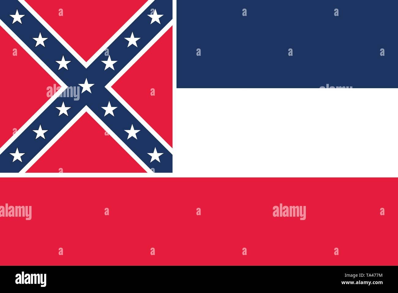 Vector flag illustration of Mississipi, United States of America - Stock Image