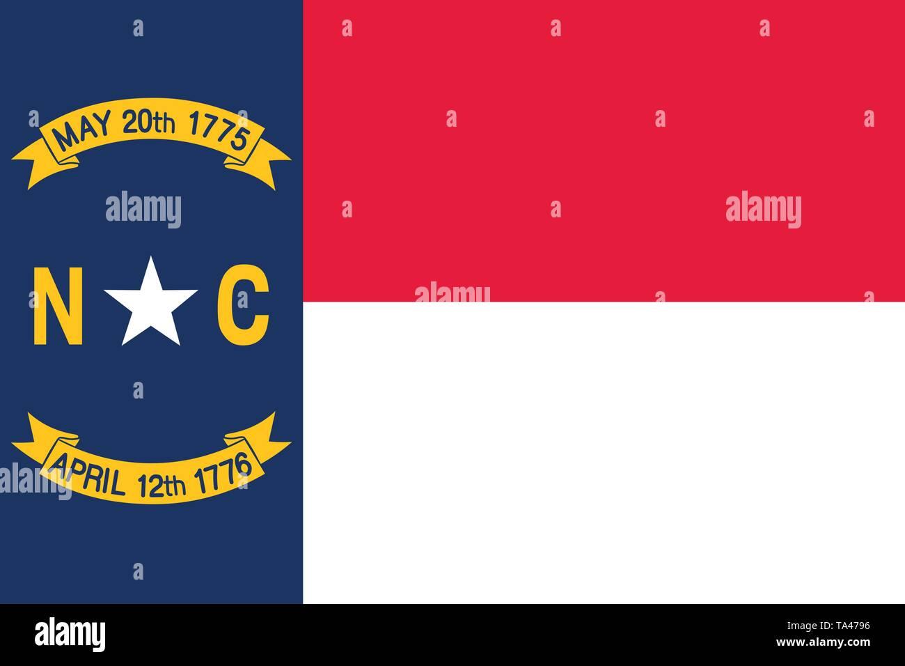 North Carolina vector flag. Vector illustration. United States of America. Raleigh - Stock Vector