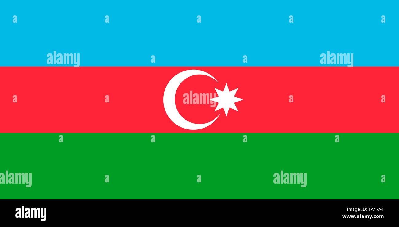 Azerbaijan vector flag. Baku - Stock Vector