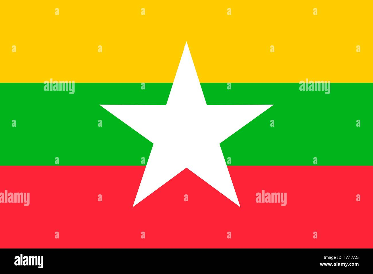 Myanmar vector flag. Naypyitaw - Stock Vector