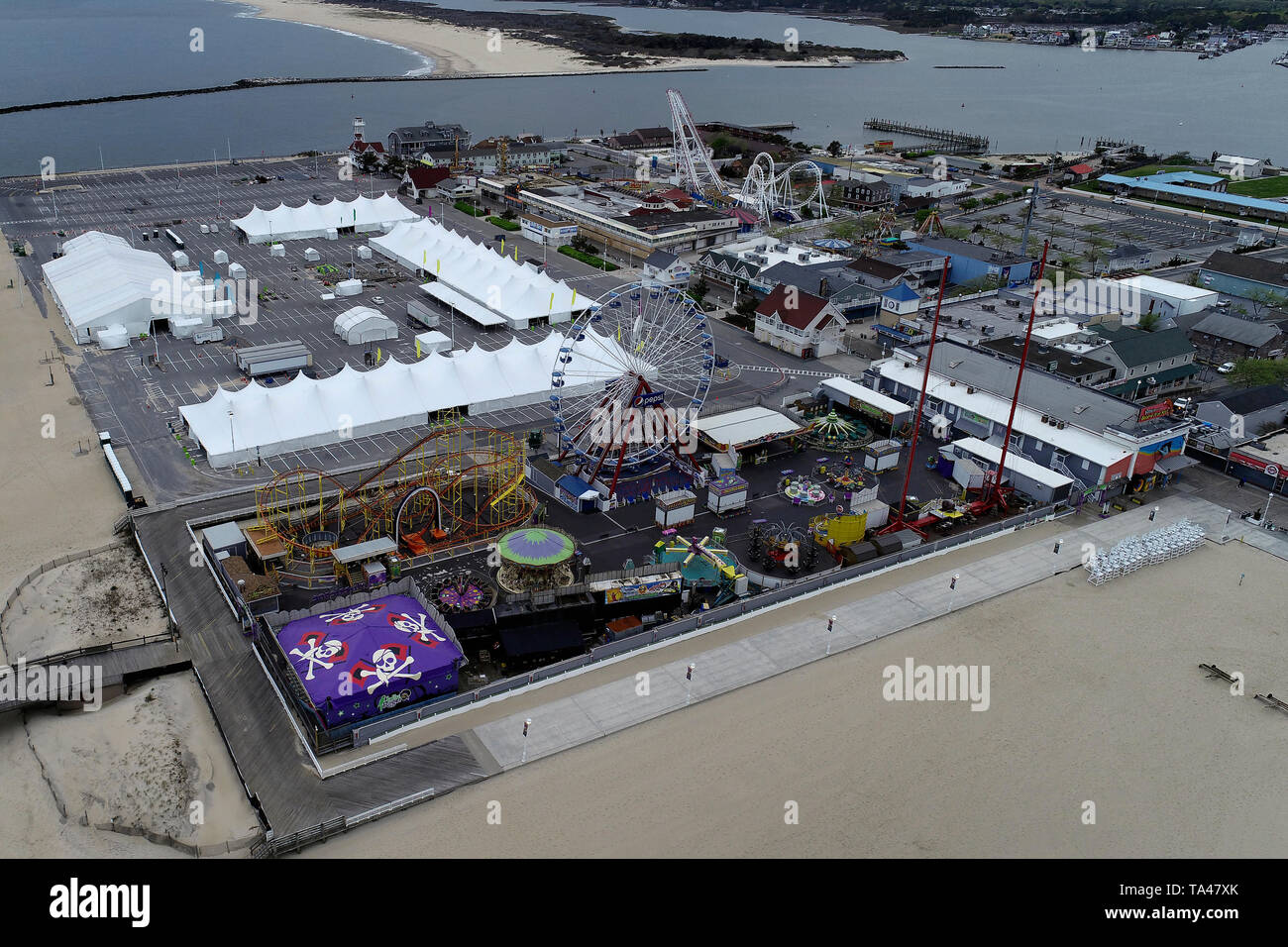 Aerial view of Boardwalk Amusement Park in Ocean City, Maryland - Stock Image