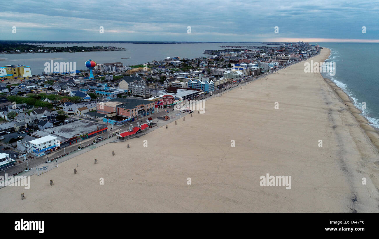 Aerial view of Ocean City, Maryland in the early morning - Stock Image