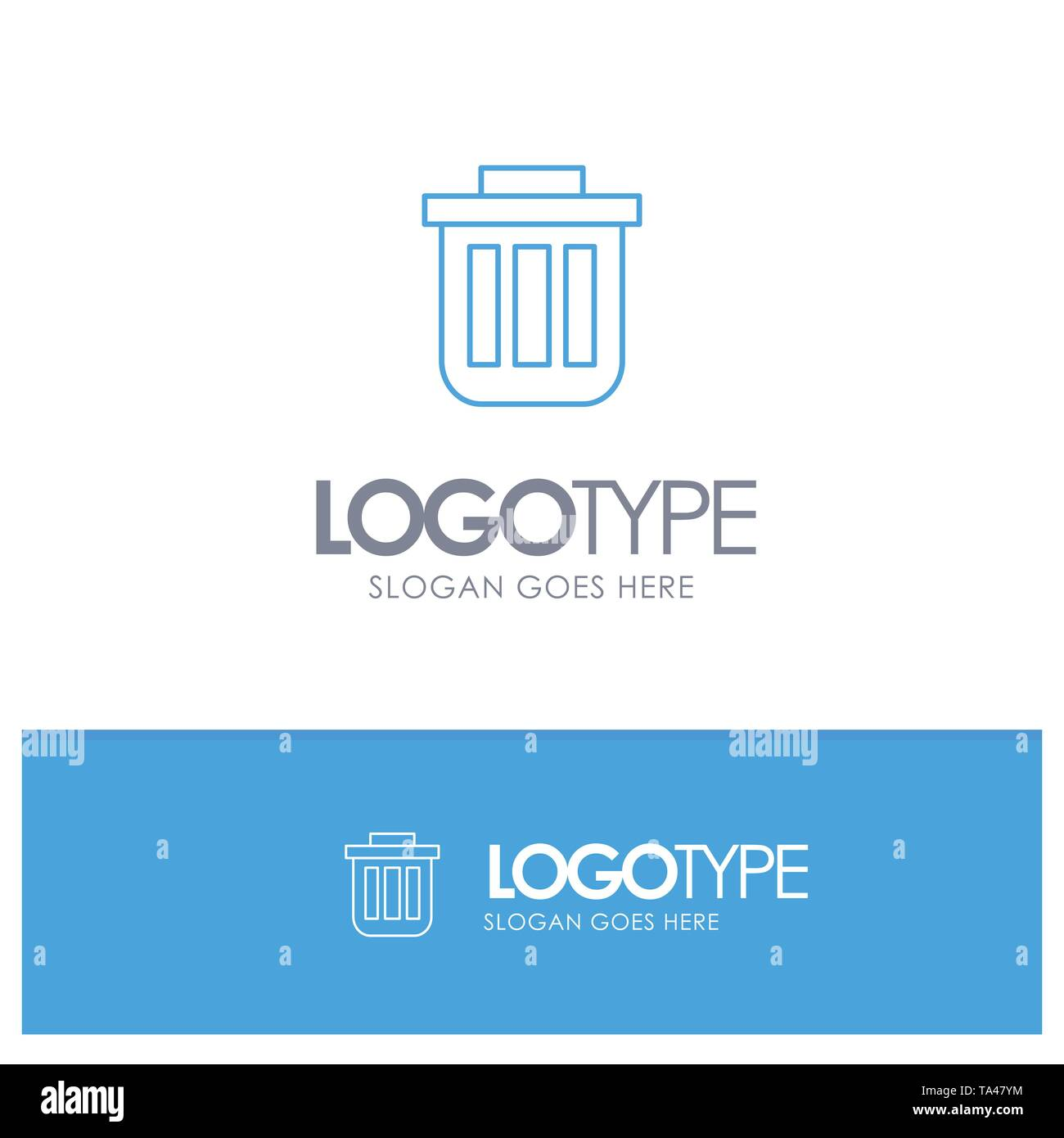 Trash, Basket, Bin, Can, Container, Dustbin, Office Blue outLine Logo with place for tagline - Stock Image
