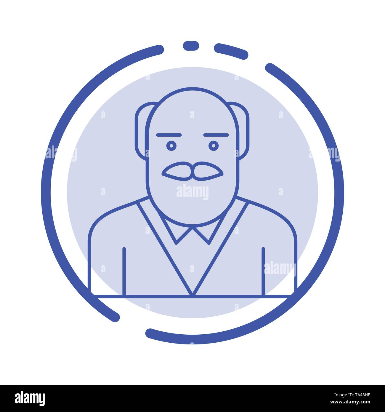 Grandpa, Father, Old Man, Uncle Blue Dotted Line Line Icon - Stock Image