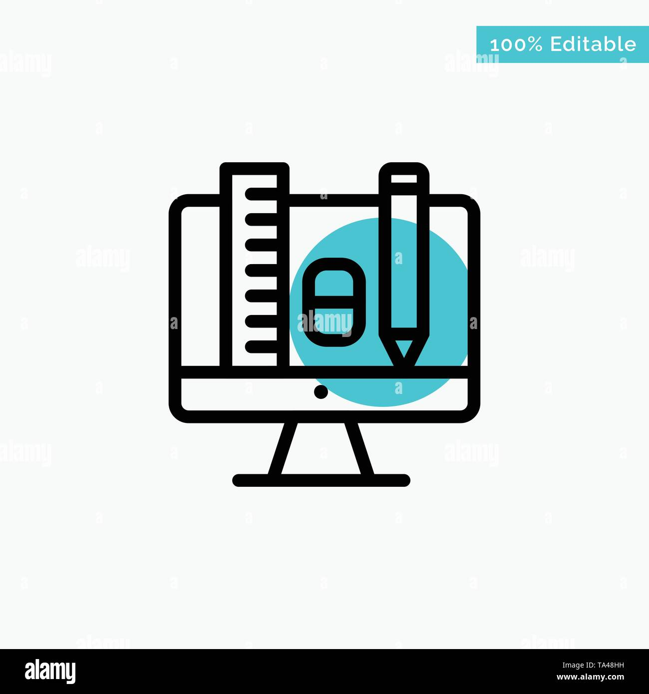 Computer, Education, Scale, Pencil turquoise highlight circle point Vector icon - Stock Image