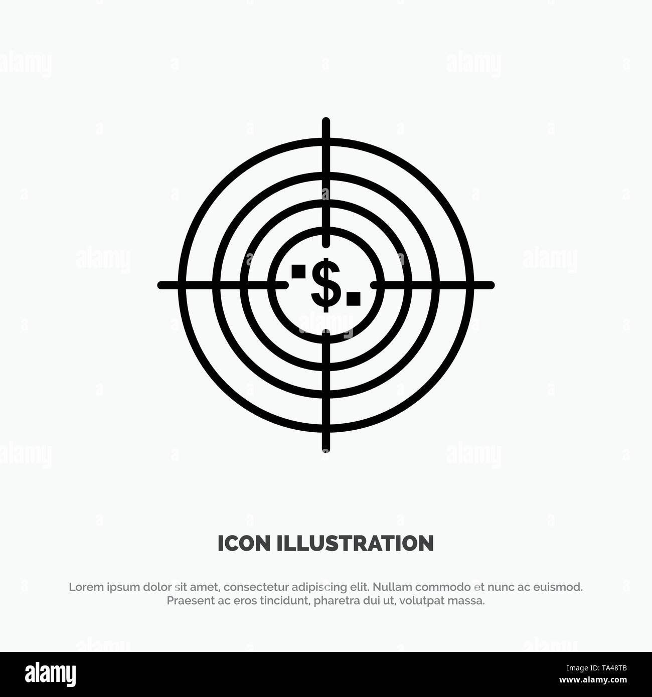 Target, Aim, Business, Cash, Financial, Funds, Hunting, Money Line Icon Vector - Stock Image