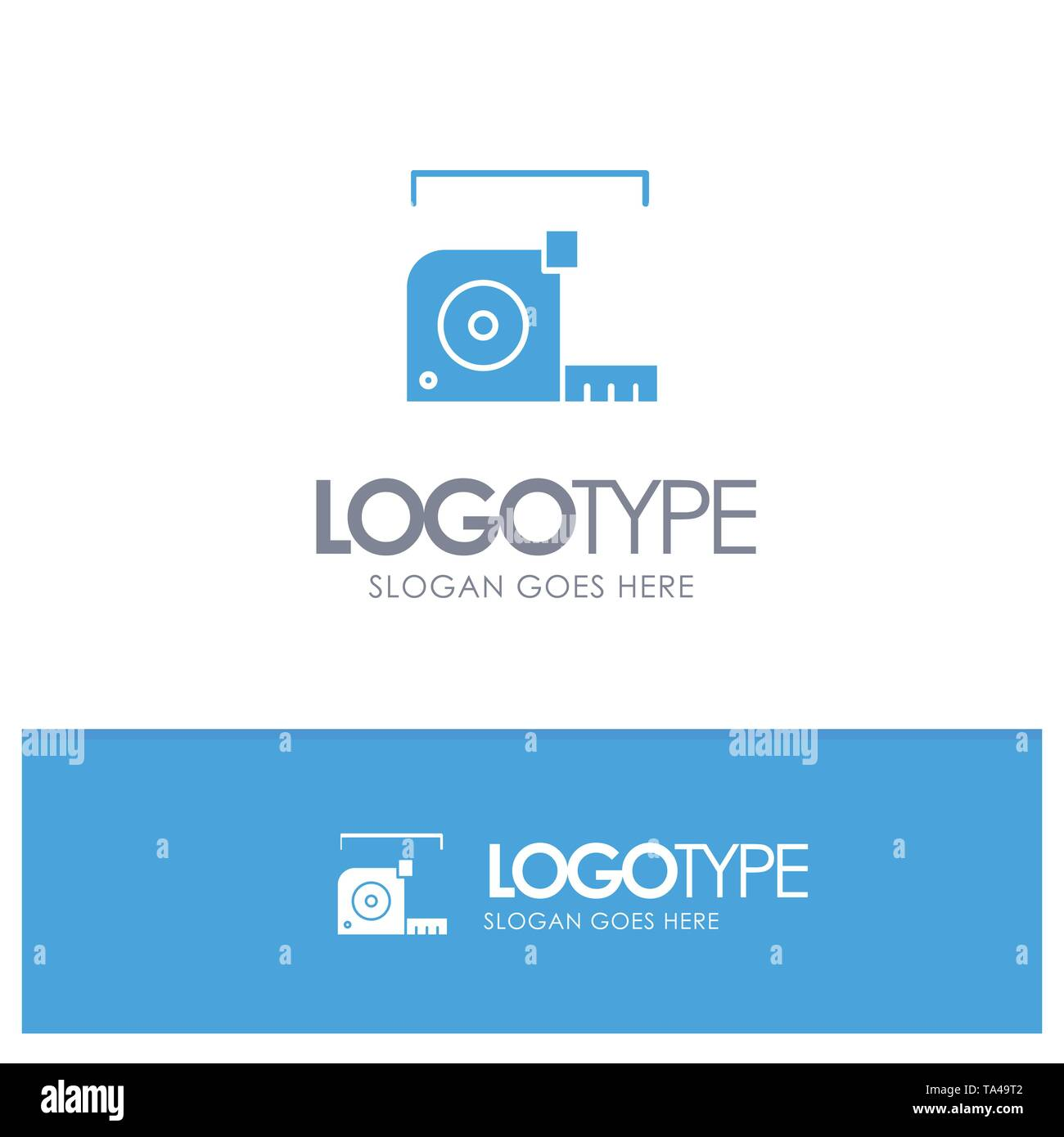 Measure, Measurement, Meter, Roulette, Ruler Blue Solid Logo with place for tagline - Stock Image