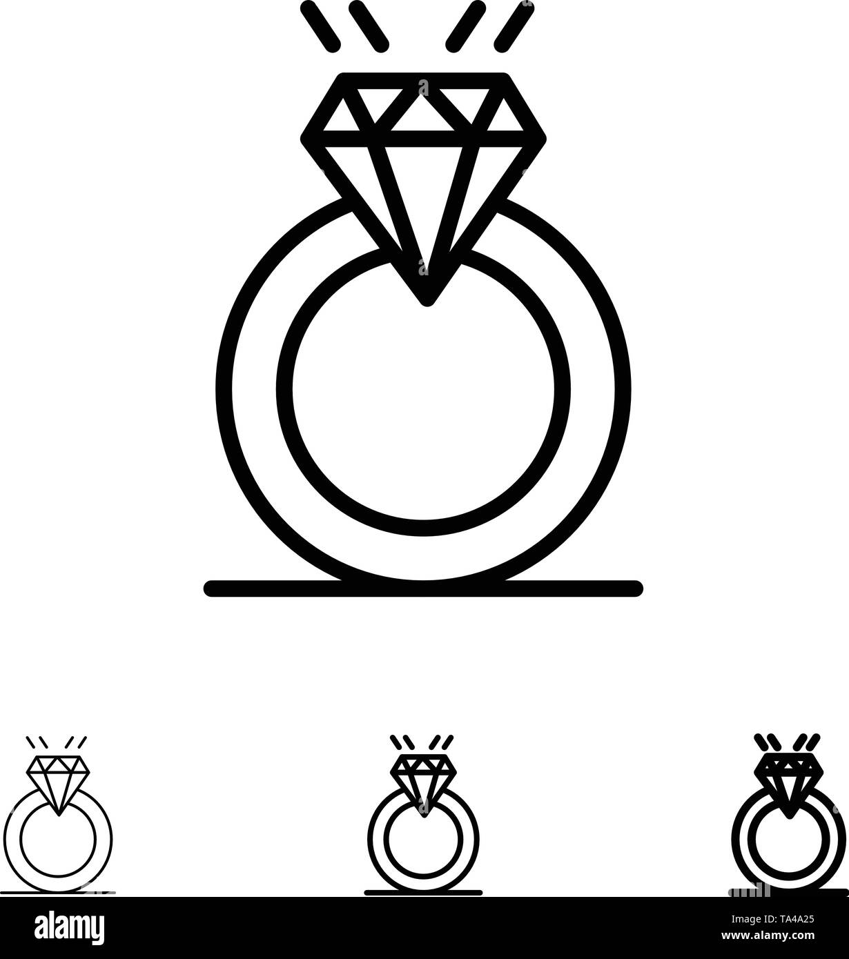 Ring, Diamond, Proposal, Marriage, Love Bold and thin black line icon set - Stock Image