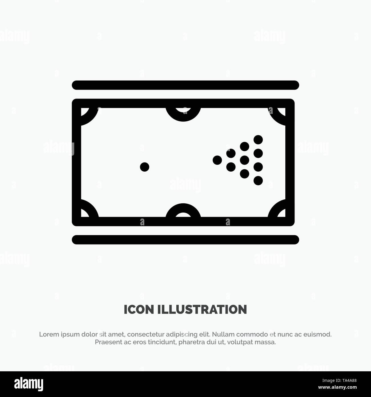 Billiards, Cue, Game, Pocket, Pool Line Icon Vector - Stock Vector