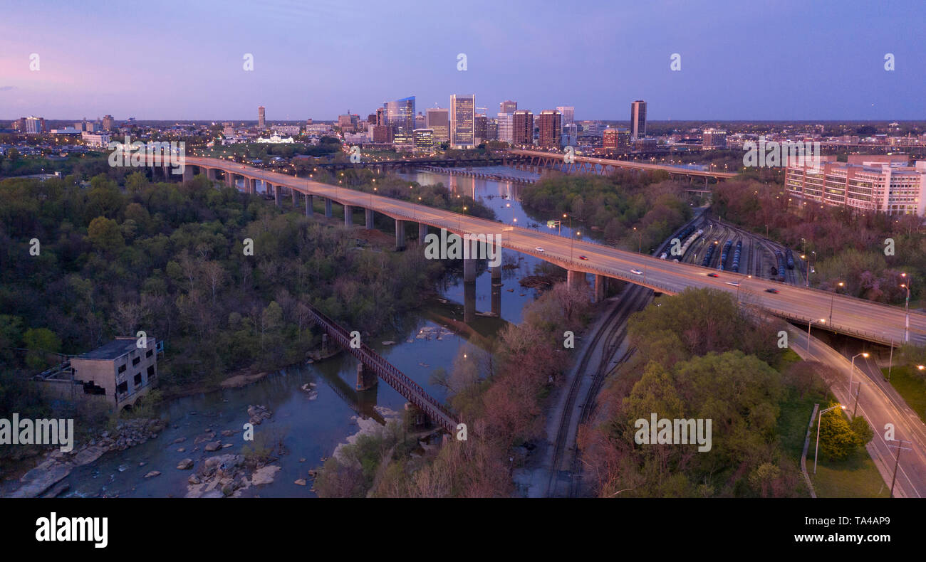 The State Capital city boasts a vibrant waterfront area in Richmond Virginia - Stock Image