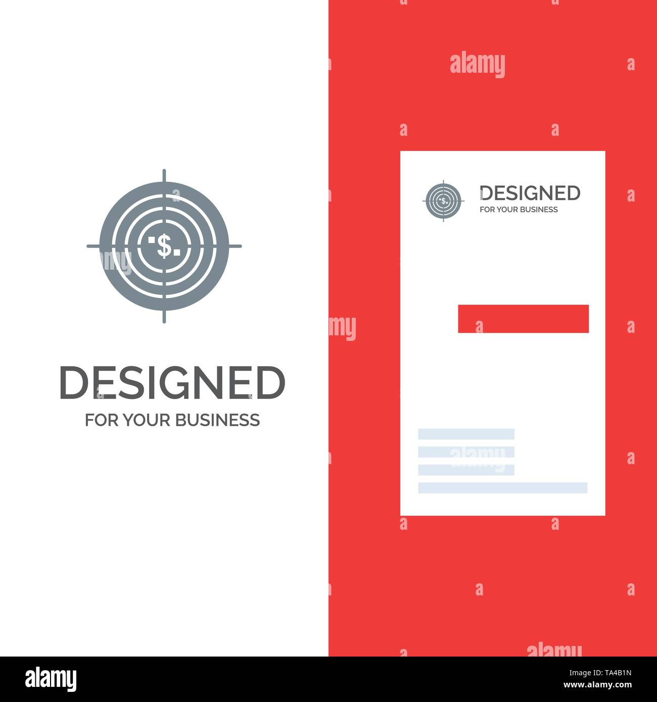 Target, Aim, Business, Cash, Financial, Funds, Hunting, Money Grey Logo Design and Business Card Template - Stock Image