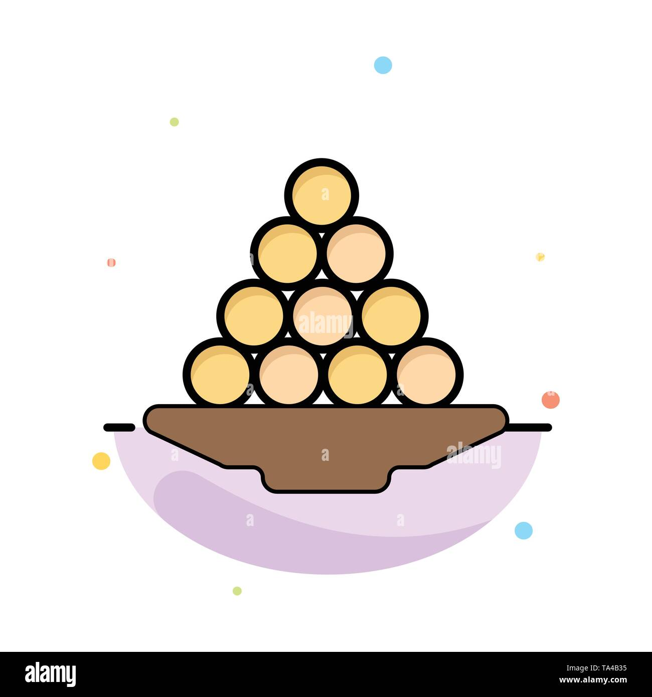 Bowl, Delicacy, Dessert, Indian, Laddu, Sweet, Treat Abstract Flat Color Icon Template - Stock Image