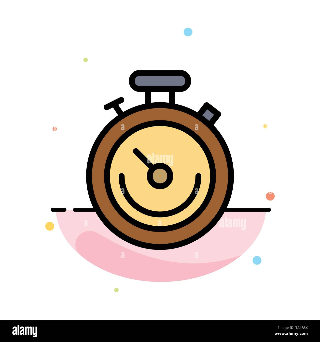 Clock, Sports, Stopwatch, Time Abstract Flat Color Icon Template - Stock Image