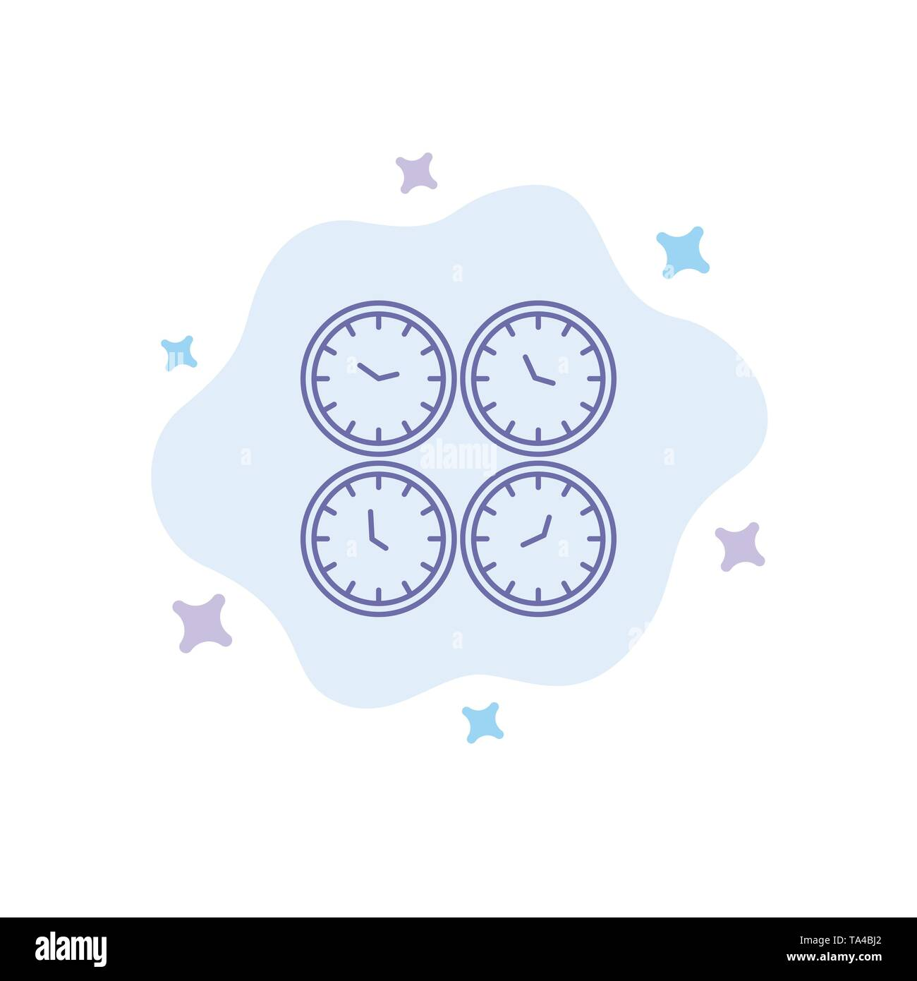 Clock, Business, Clocks, Office Clocks, Time Zone, Wall Clocks, World Time Blue Icon on Abstract Cloud Background - Stock Image