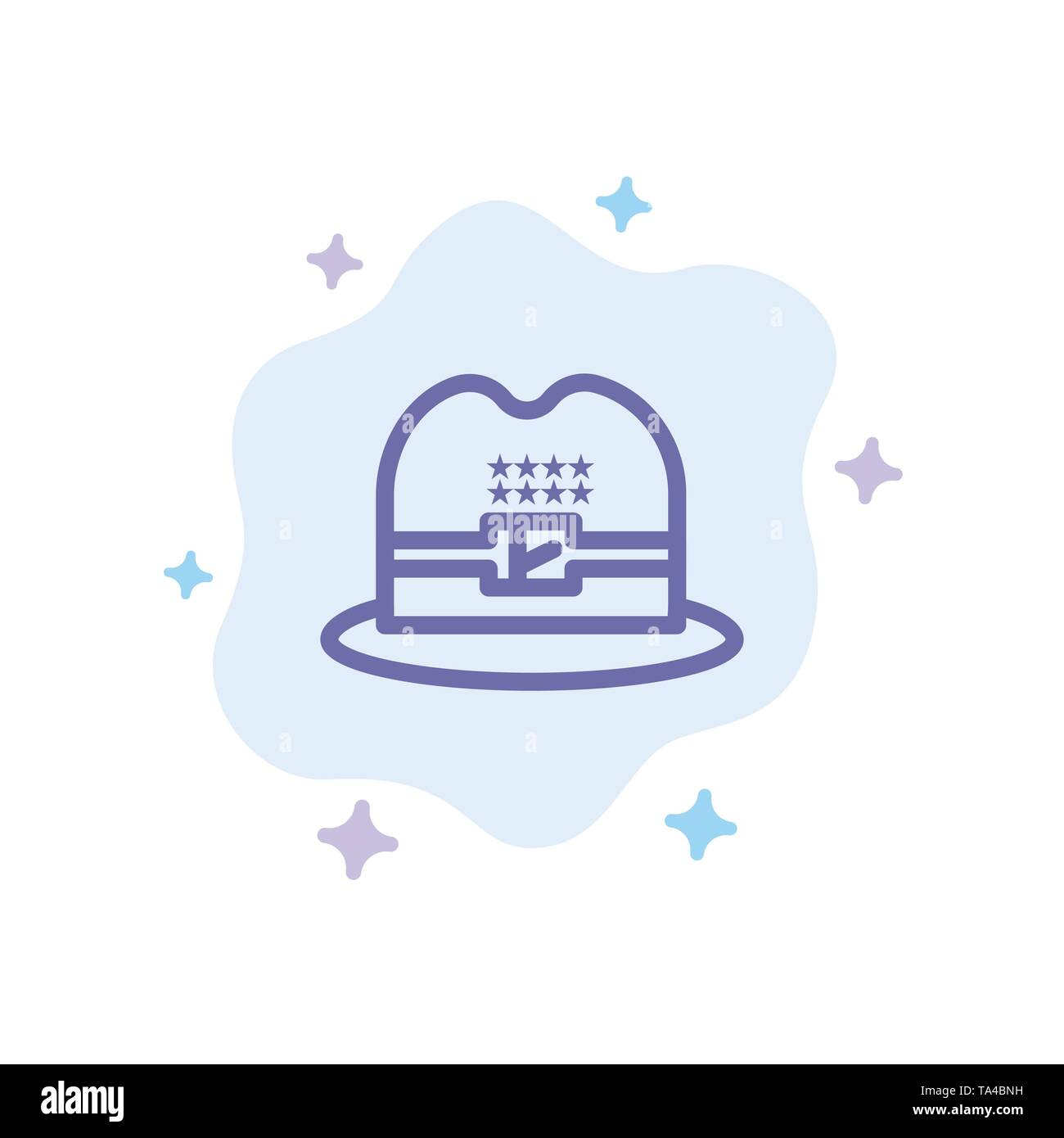 Hat, Cap, American Blue Icon on Abstract Cloud Background - Stock Image