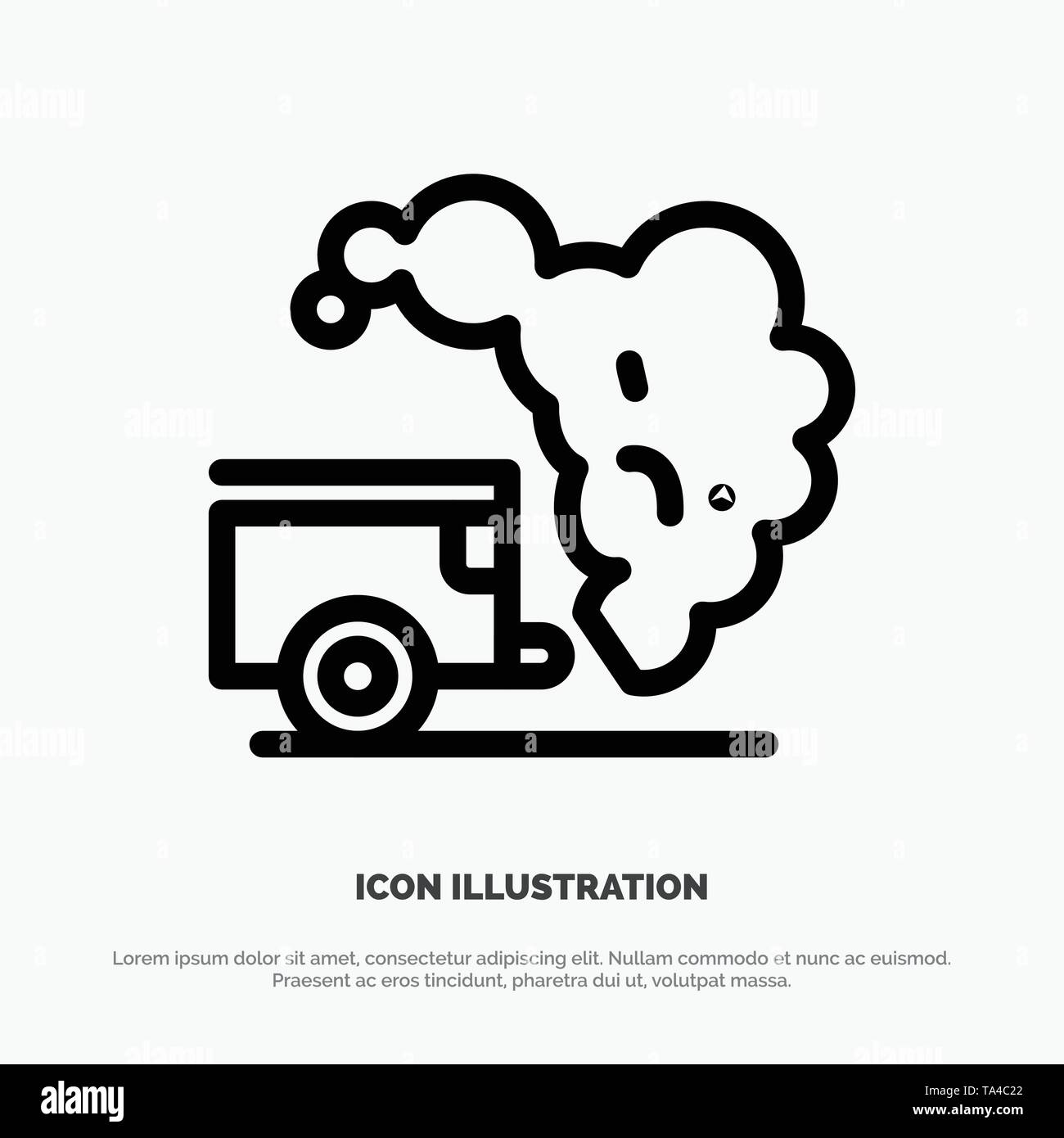 Dump, Environment, Garbage, Pollution Line Icon Vector - Stock Image