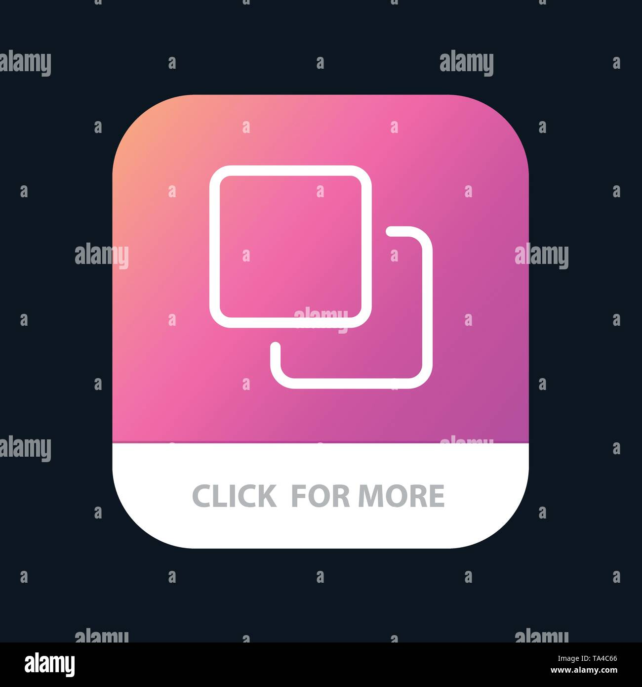 Four, Media, Quadruple, Stack Mobile App Button. Android and IOS Line Version - Stock Image