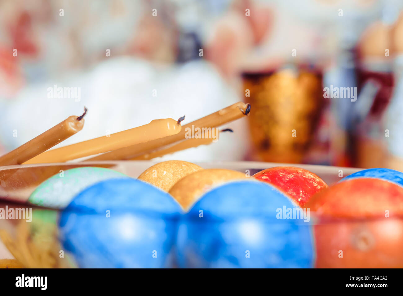 Easter eggs on a black plate. Top view. - Stock Image