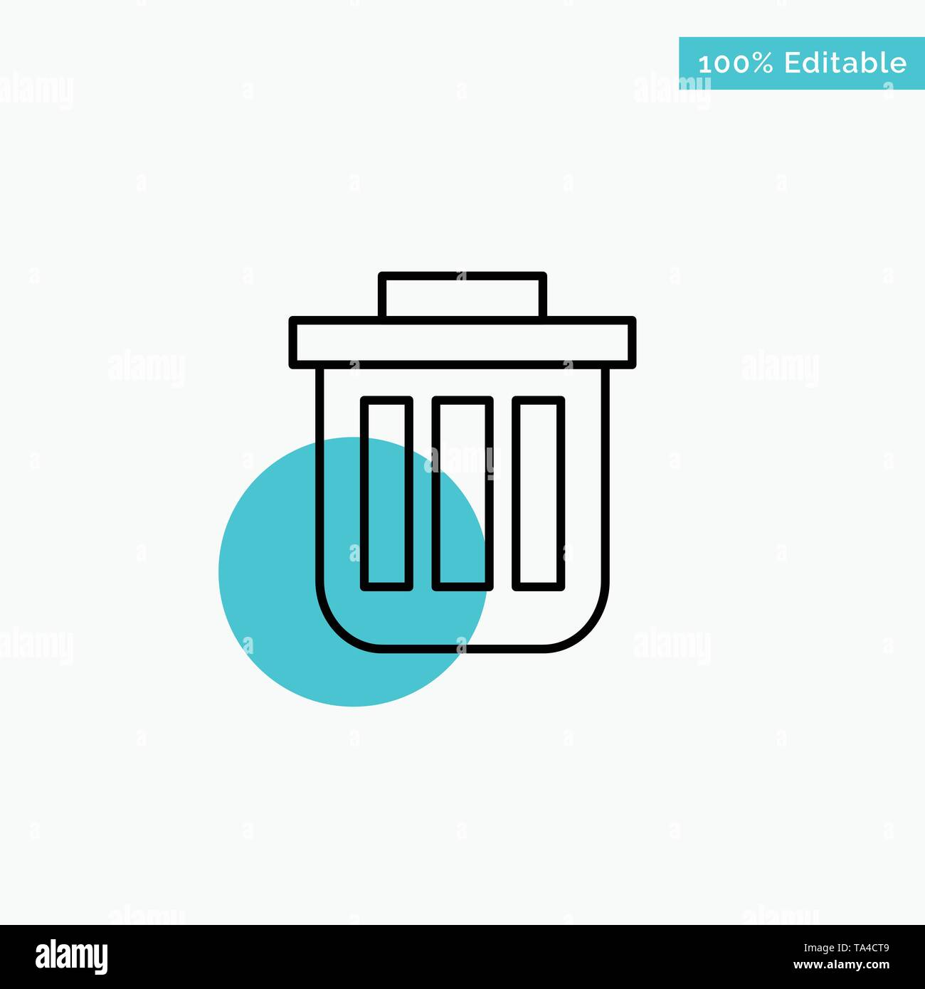 Trash, Basket, Bin, Can, Container, Dustbin, Office turquoise highlight circle point Vector icon - Stock Image