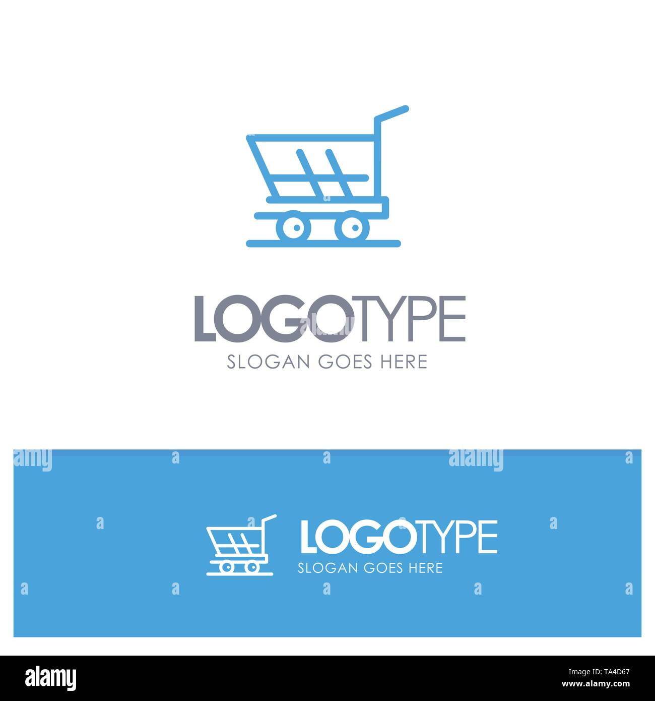 Cart, Trolley, Shopping, Buy Blue Outline Logo Place for Tagline - Stock Image