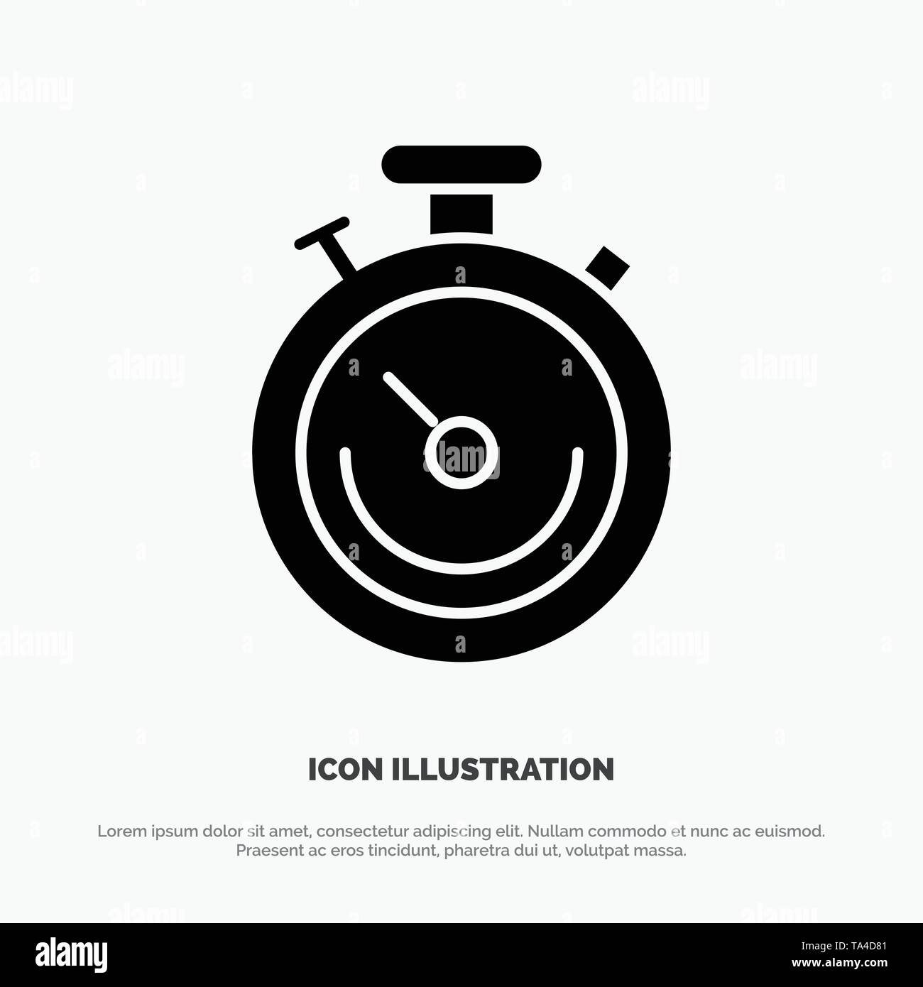 Clock, Sports, Stopwatch, Time solid Glyph Icon vector - Stock Image