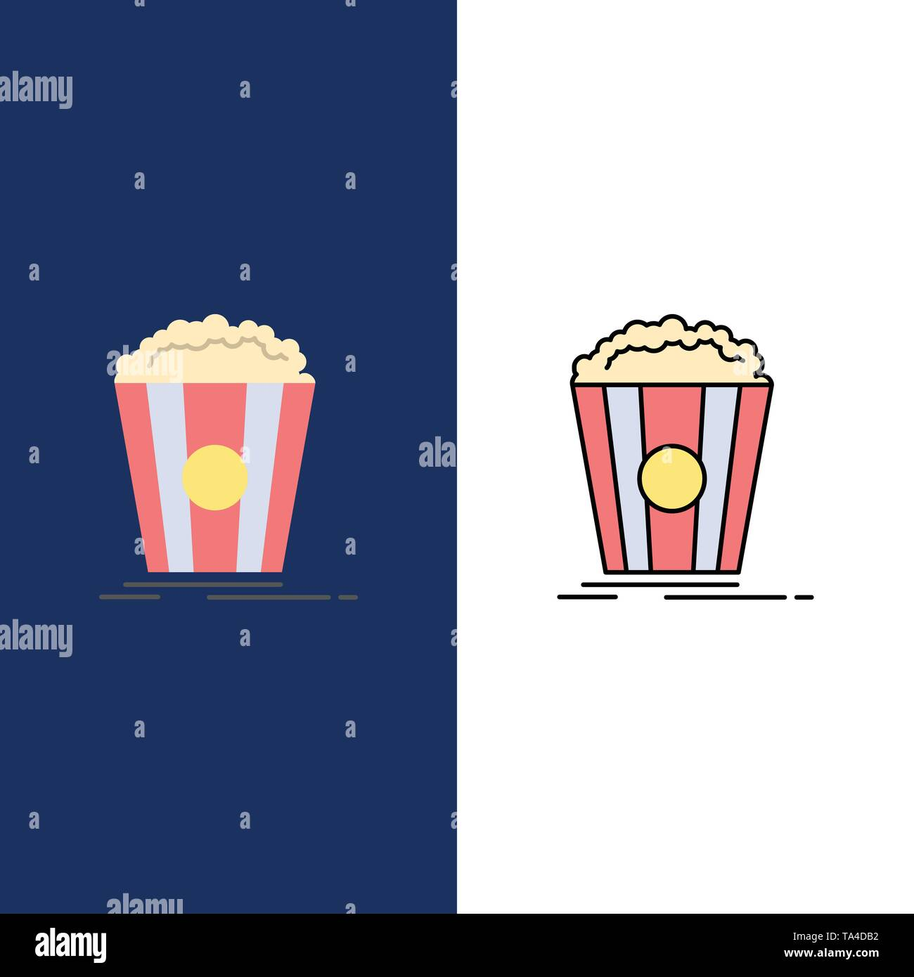 Popcorn, Theater, Movie, Snack  Icons. Flat and Line Filled Icon Set Vector Blue Background Stock Vector
