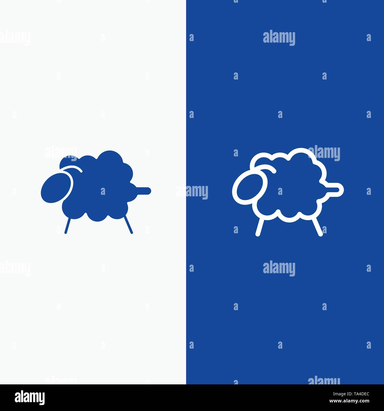 Lamb, Sheep, Wool, Easter Line and Glyph Solid icon Blue banner Line and Glyph Solid icon Blue banner - Stock Vector