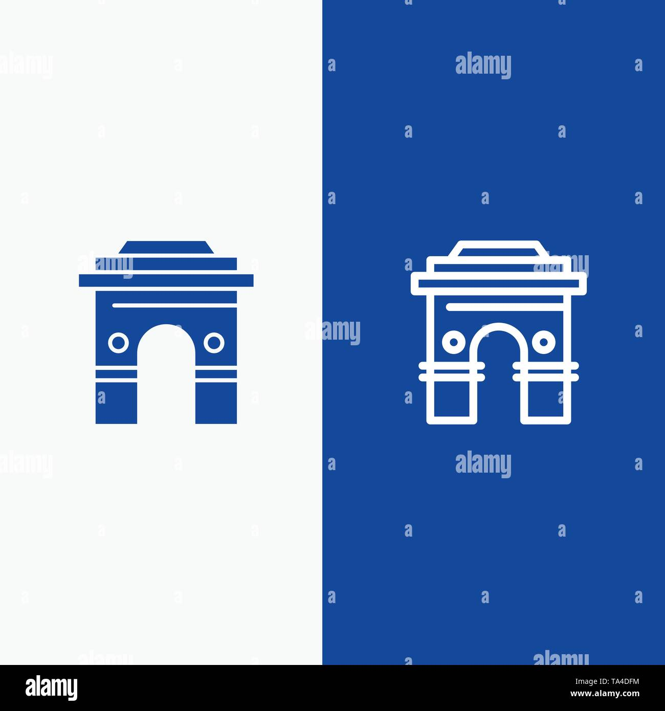 Culture, Global, Hinduism, India, Indian, Srilanka, Temple Line and Glyph Solid icon Blue banner Line and Glyph Solid icon Blue banner - Stock Image