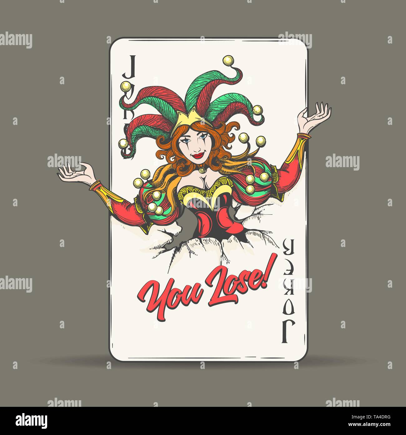Joker coming out of fractured playing card with lettering You Lose. Vector illustration. - Stock Image
