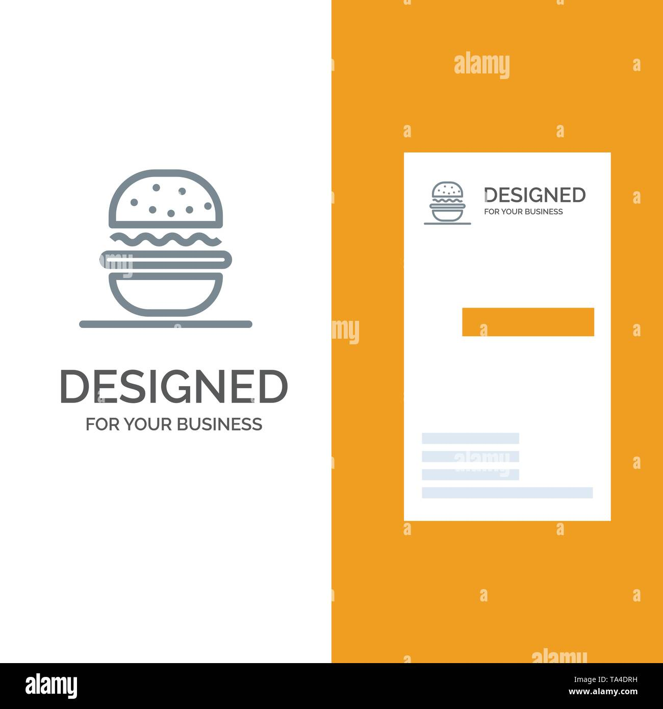 Burger, Eat, American, Usa Grey Logo Design and Business Card Template - Stock Image