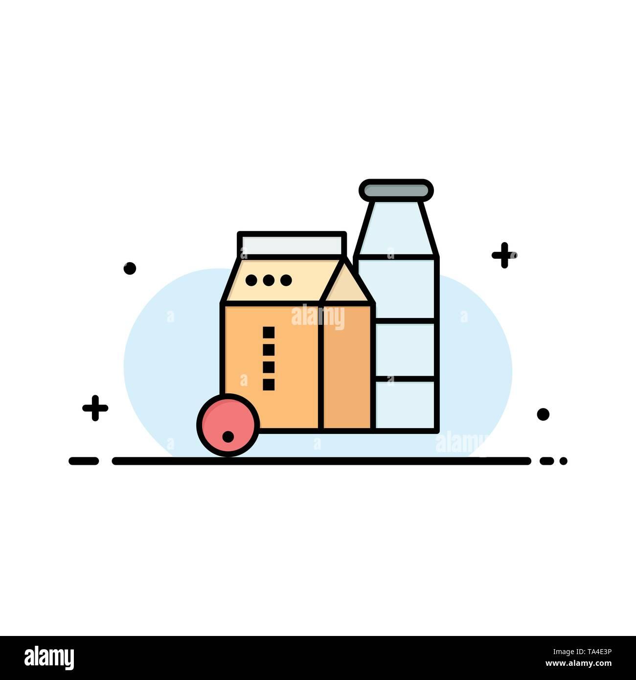 Milk, Box, Bottle, Shopping Business Logo Template. Flat Color - Stock Image