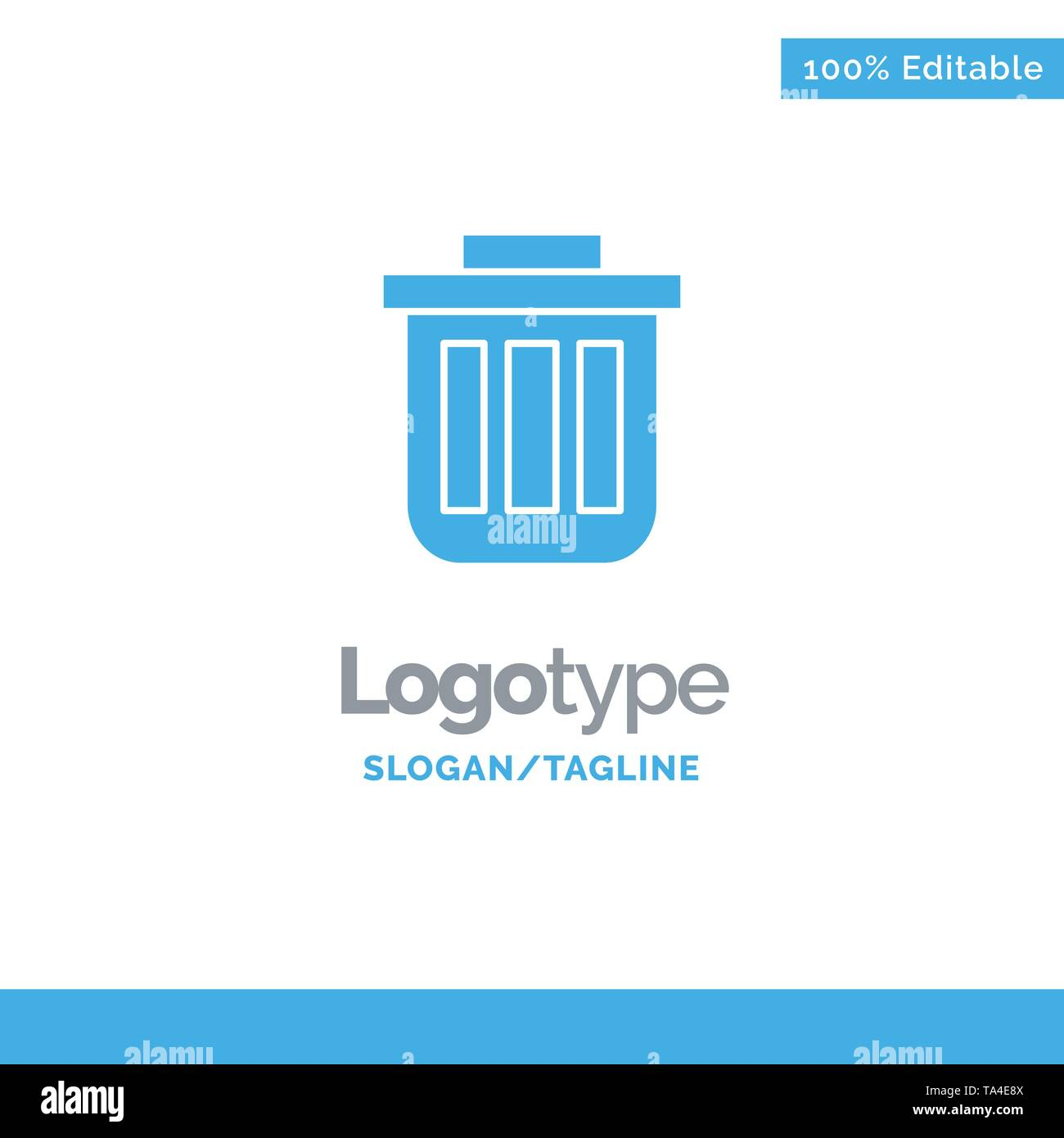 Trash, Basket, Bin, Can, Container, Dustbin, Office Blue Solid Logo Template. Place for Tagline - Stock Image