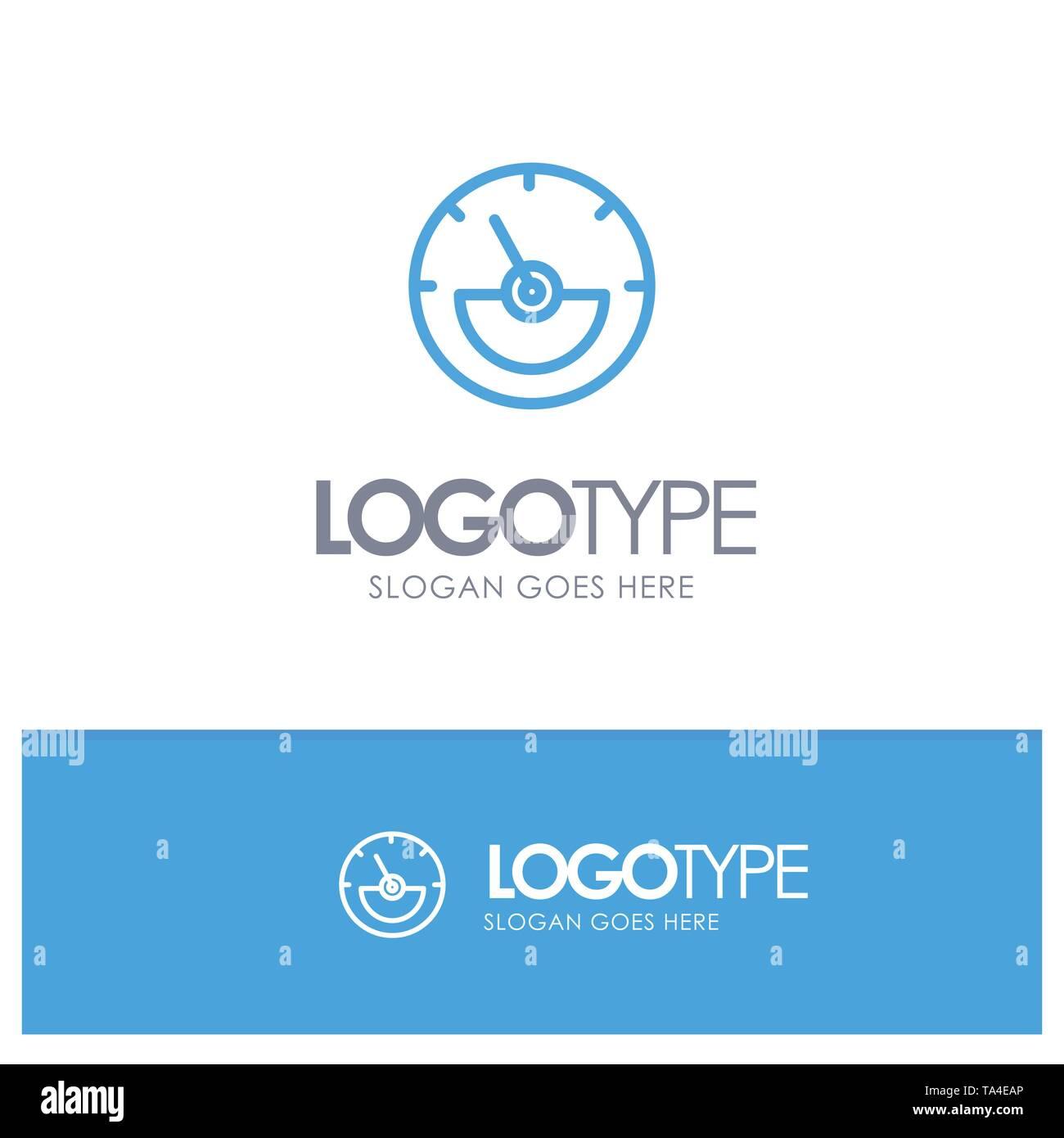 Ampere, Ampere Meter, Electrical, Energy Blue Outline Logo Place for Tagline - Stock Image