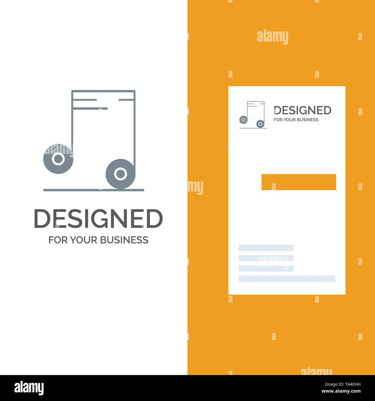 Music, Audio, School Grey Logo Design and Business Card Template - Stock Image